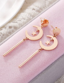 Fashion Rose Gold+black Moon Shape Decorated Earrings