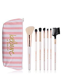 Fashion White Letter Pattern Decorated Makeup Brush (7 Pcs With Bag)