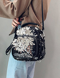 Fashion Silver Color Pure Color Decorated Backpack