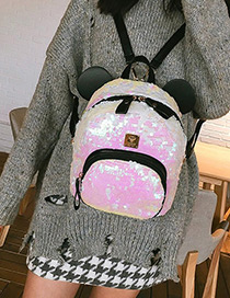 Fashion Light Pink Pure Color Decorated Backpack