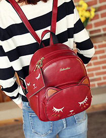 Fashion Claret Red Cat Shape Decorated Backpack