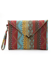 Fashion Red Stripe Pattern Decorated Handbag