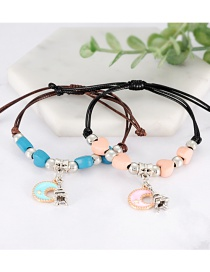 Fashion Black+coffee Moon Shape Decorated Bracelet (2 Pcs )