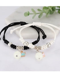 Fashion White+black Crown Shape Decorated Bracelet (2 Pcs )