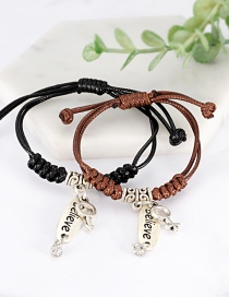 Fashion Black+coffee Letter Shape Decorated Bracelet (2 Pcs )