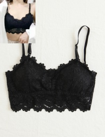 Fashion Black Pure Color Decorated Bra