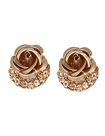 Fashion Champagne Flower&diamond Decorated Earrings