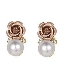 Fashion Champagne Pearls&flower Decorated Earrings