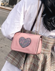 Fashion Pink Heart Shape Decorated Shoulder Bag