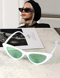 Fashion White+green Cat Eye Shape Decorated Sunglasses