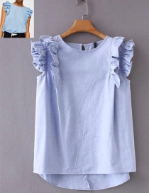 Fashion Light Blue Round Neckline Design Sleeveless Blouse