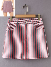 Fashion Red+black Stripe Pattern Decorated Simple Skirt