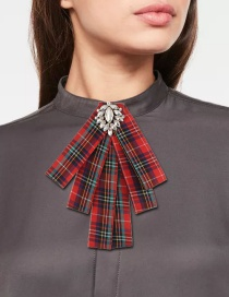 Fashion Red Diamond Decorated Grid Dedign Bowknot Brooch