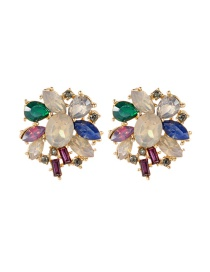 Fashion Multi-color Oval Shape Diamond Decorated Color Matching Earrings