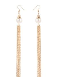 Fashion Gold Color Tassel&pearls Decorated Long Earrings