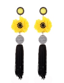 Fashion Yellow Beads&flower Decorated Long Earrings