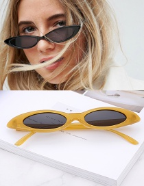 Fashion Yellow Oval Shape Design Small Frame Glasses
