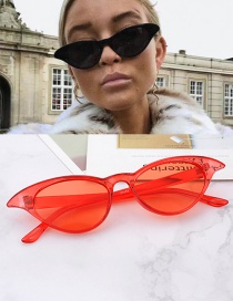 Fashion Red Oval Shape Design Pure Color Glasses