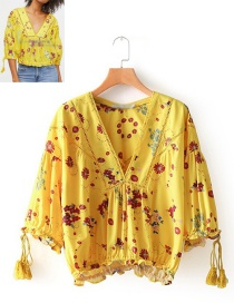 Fashion Yellow V Neckline Design Long Sleeves Blouse