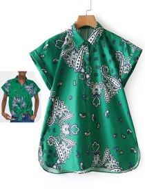 Fashion Green Flowers Pattern Decorated Simple Blouse
