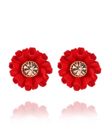 Elegant Red Diamond Decorated Rose Shape Earrings