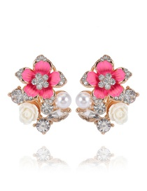 Elegant Pink Diamond&flower Decorated Earrings