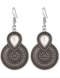 Fashion Silver Color Round Shape Decorated Simple Earrings