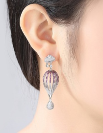 Fashion Pink+white Full Diamond Decorated Hollow Out Earrings