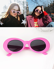 Fashion Pink Oval Shape Decorated Simple Glasses