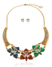 Fashion Multi-color Flowers Decorated Simple Jewelry Sets