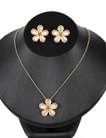 Fashion Gold Color Flowers Shape Design Jewelry Sets