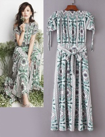 Fashion Light Green Flower Pattern Decorated Long Dress