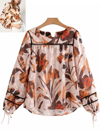 Fashion Multi-color Leaf Pattern Decorated Long Sleeves Blouse