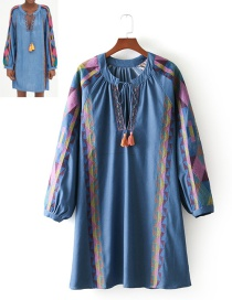 Fashion Blue Tassel Decorated Long Sleeves Dress