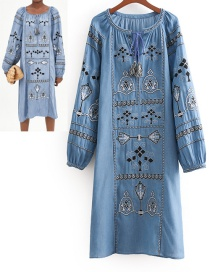 Fashion Blue Embroidery Design Long Sleeves Dress
