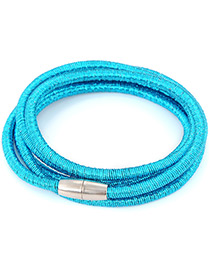Fashion Blue Pure Color Design Multi-layer Bracelet