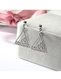Fashion Silver Color Triangle Shape Design Hollow Out Earrings