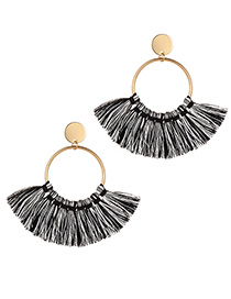 Fashion Black Tassel Decorated Circular Ring Earrings