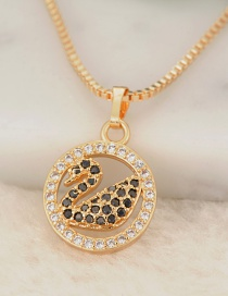 Fashion Gold Color Swan Pendant Decorated Necklace