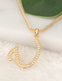 Fashion Gold Color Letter U Pendant Decorated Necklace