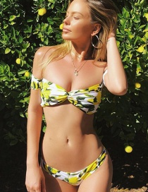 Sexy Multi-color Lemon Pattern Decorated Strapless Swimwear