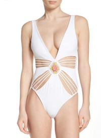 Sexy White Flowers Decorated Hollow Out Swimwear