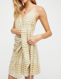 Fashion Yellow Grids Pattern Decorated V Neckline Dress