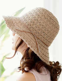 Fashion Khaki Hollow Out Design Pure Color Hat