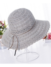 Fashion Gray Hollow Out Design Pure Color Hat