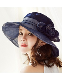 Fashion Navy Flower Shape Decorated Pure Color Hat