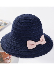 Fashion Navy Bowknot Shape Decorated Hollow Out Hat