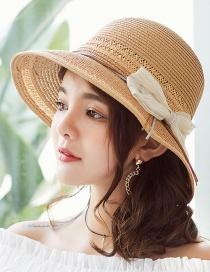 Fashion Khaki Bowknot Shape Decorated Hat