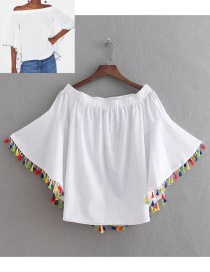Fashion White Tassel Decorated Blouse
