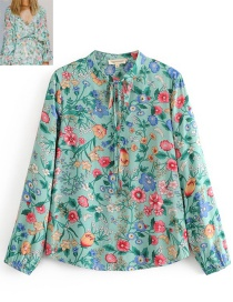 Fashion Green Flower Pattern Decorated Blouse